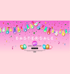 horizontal easter sale banner with colorful vector image vector image
