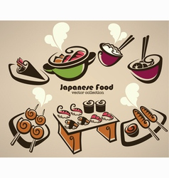 Japanese food symbols vector