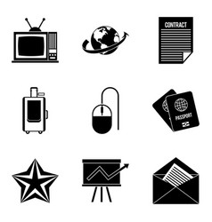 journalist icons set simple style vector image