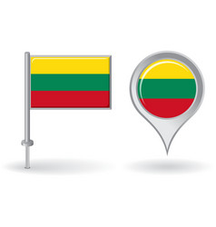 Lithuanian pin icon and map pointer flag vector