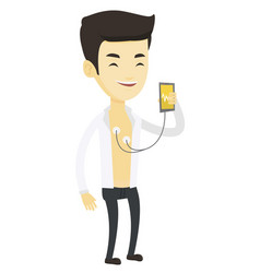 Man measuring heart rate pulse with smartphone vector