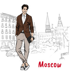 man with shopping bags in moscow vector image vector image