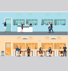 modern office with desk and office worker vector image vector image