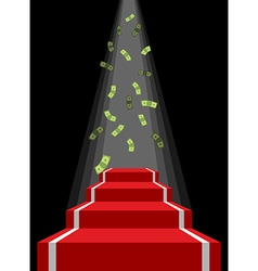Red carpet and rain of money Falling dollars for vector image