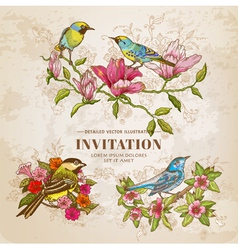 Set of Vintage Flowers and Birds - hand-drawn vector image vector image