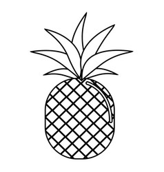 Silhouette delicious pineapple fruit icon vector