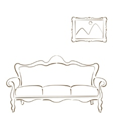Sketched sofa couch and picture on the wall vector