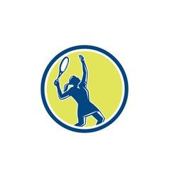 Tennis player female racquet circle retro vector