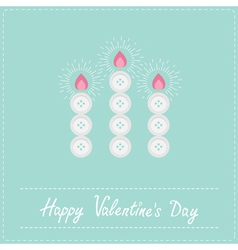 Three candles button on blue Valentines day vector image