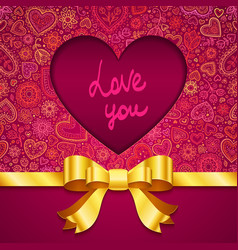 Valentines day greeting card with heart and ribbon vector image