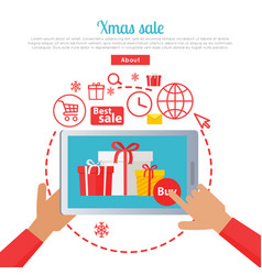 xmas sale hand holding tablet and buying gifts vector image vector image
