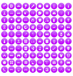 100 development icons set purple vector