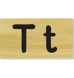 wooden letter T vector image