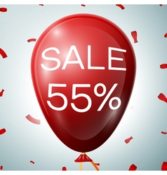 Red baloon with 55 percent discounts sale concept vector