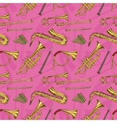 Seamless pattern with wind musical instruments vector
