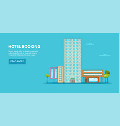 hotel horizontal banner sky cartoon style vector image