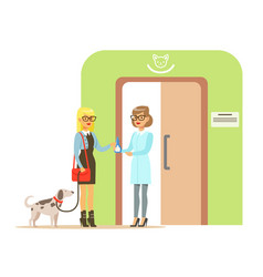 Woman holding a dog on a leash in veterinary vector