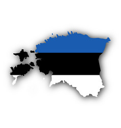Map and flag of estonia vector