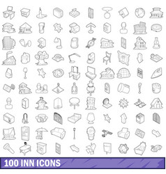 100 inn icons set outline style vector image