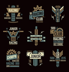 Emblems motorcycle races in retro style vector