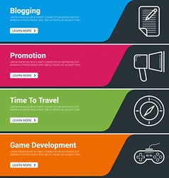 Flat design concept set of web banners blogging vector
