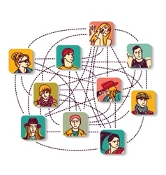 Social network people connection color avatars vector