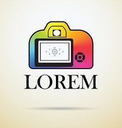 Professional photocamera icon filled with color vector