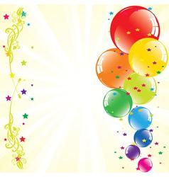 Festive balloons and light-burst vector