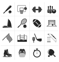 Black sport objects icons vector