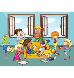 Children doing activities in the living room vector