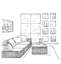 Modern interior room sketch vector
