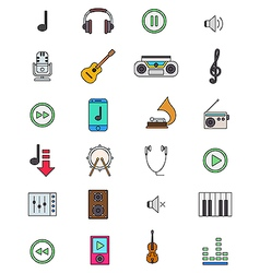Color music icons set vector