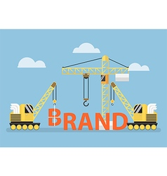 Construction site crane building big brand word vector