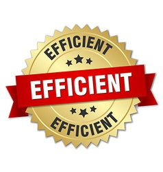 Efficient 3d gold badge with red ribbon vector