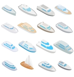 Yacht icons set isometric 3d style vector