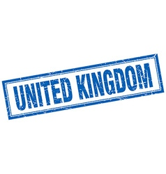 United kingdom blue square grunge stamp on white vector