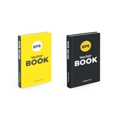 Realistic black and yellow books on the white vector