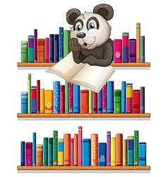 A panda reading above the wooden shelf with books vector