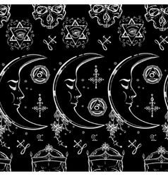 Alchemy and magic seamless pattern vector