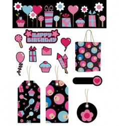 black and pink party items vector image