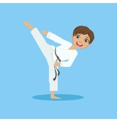 Boy in white kimono doing leg sidekick on karate vector