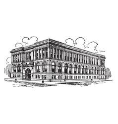 Chicago public library building vintage vector