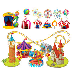 Circus rides and tents vector
