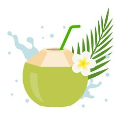 Coconut juice with plumeria flower vector