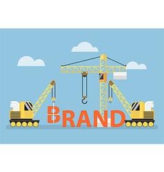 Construction site crane building big brand word vector