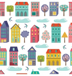 Cute city seamless background vector