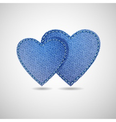 Denim hearts vector