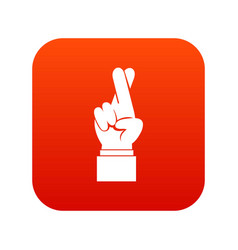 Fingers crossed icon digital red vector