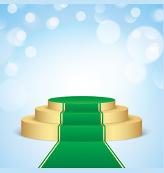 golden pedestal with green carpet vector image vector image