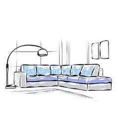 Hand drawn sofa vector image vector image